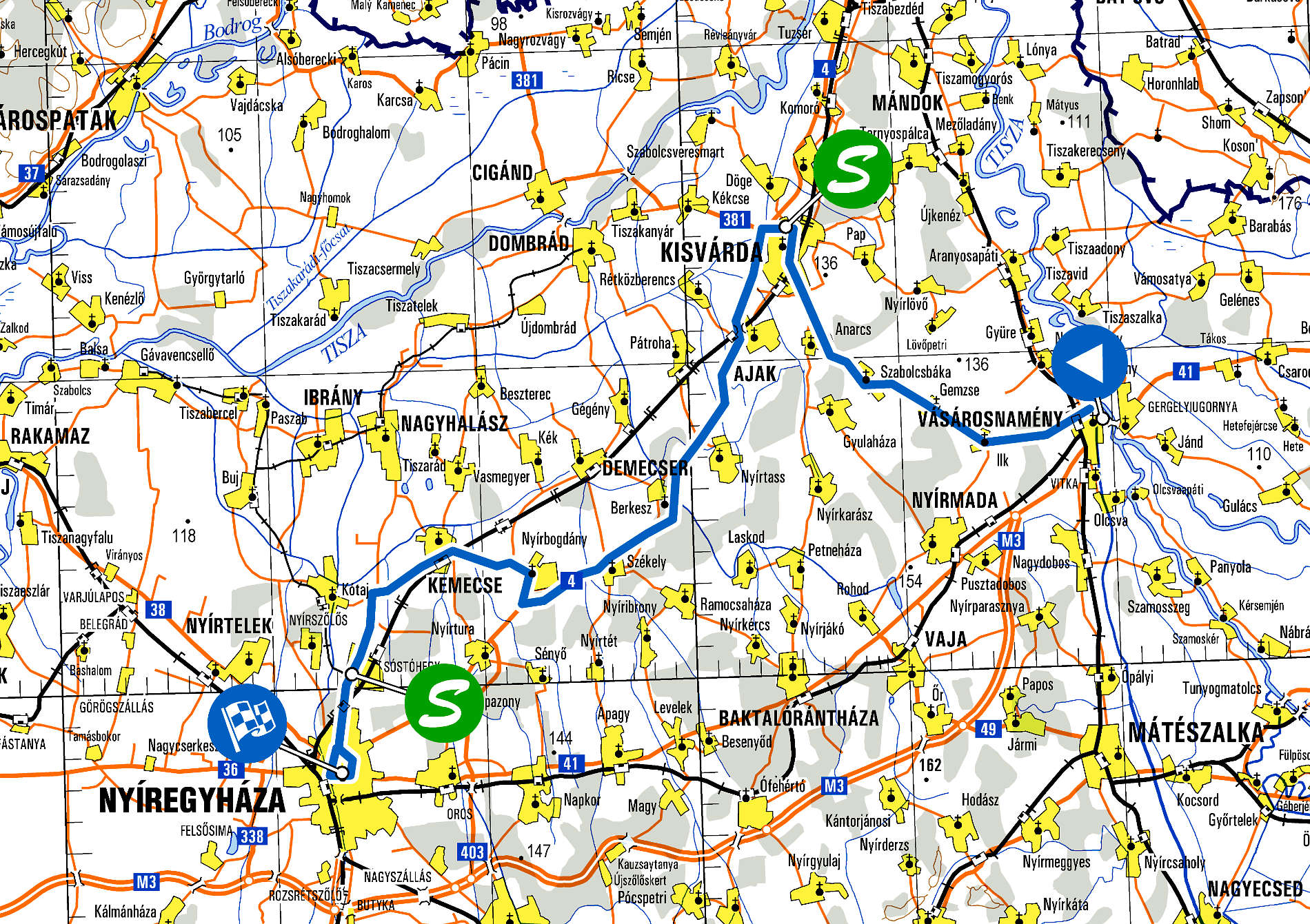 Visegrad 4 Juniors 2020 - Route Map Stage 1