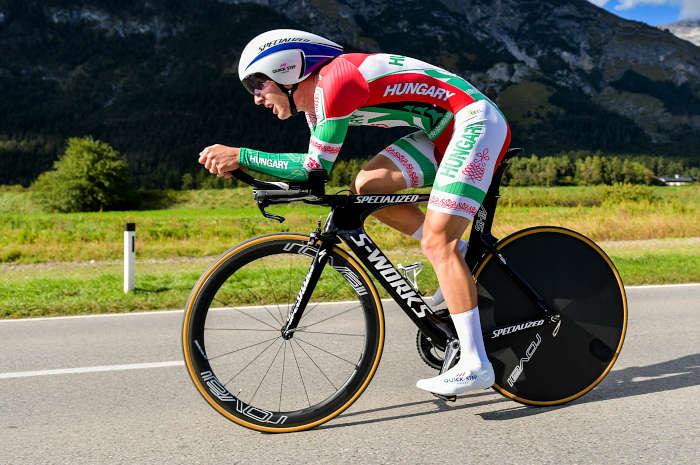 Barnabás Peák on time trial bike